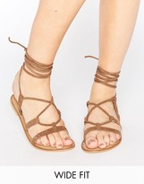 Asos FOUNDATION Wide Fit Leather Lace Up Sandals
