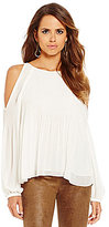 Gianni Bini Belle Cold-Shoulder Pleated Woven Blouse