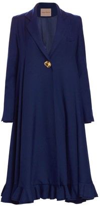 Maggie Marilyn Give Me Strength Trapeze Ruffle Wool Peacoat