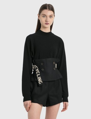 Emporio Armani R-EA Show Knitted Sweater With Ruffle Details