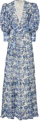 Adriana Degreas Floral-Print Silk-Chiffon Maxi Dress