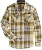 Sean John Men's Long-Sleeve Epaulette Plaid Shirt