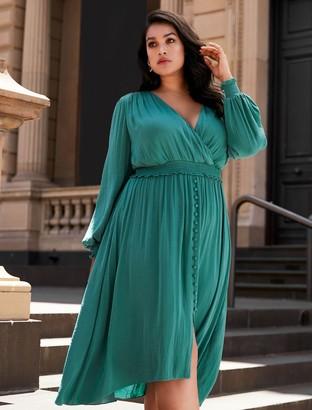 Forever New Eva Curve Shirred Waist Dress - Deep Turquoise - 16