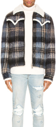 Amiri Plaid Short Trench Coat in Blue | FWRD