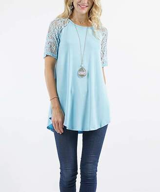 Lydiane Women's Tunics BABYBLUE - Baby Blue Crewneck Lace-Sleeve Curved-Hem Tunic - Women & Plus