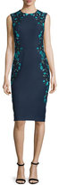 Lela Rose Sleeveless Embroidered Sheath Dress, Green/Multi
