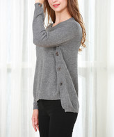 Couture Simply Women's Tunics GREY - Gray Grommet Toggle-Accent Tunic - Women & Plus