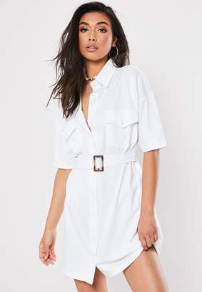 Missguided White Jersey Utility Pocket Shirt Dress