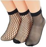 Ziye Shop 3 Pairs Fishnet Socks Women Breathable Mesh Socks Punk Sexy Lace Ankle Sock