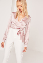 Missguided Long Sleeve Satin Wrap Front Crop Pink