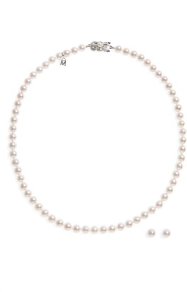 Mikimoto Cultured Pearl Necklace & Stud Earring Set
