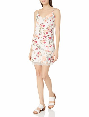 Love, Fire Love Fire Women's Floral Print Slip Dress with Eyelash Lace