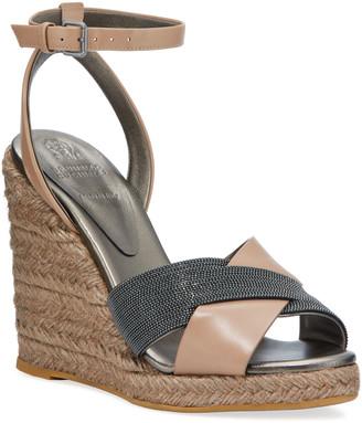 Brunello Cucinelli Monili Leather Wedge Espadrille Sandals