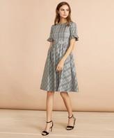 Brooks Brothers Tartan Ruffled Elbow-Sleeve Dress