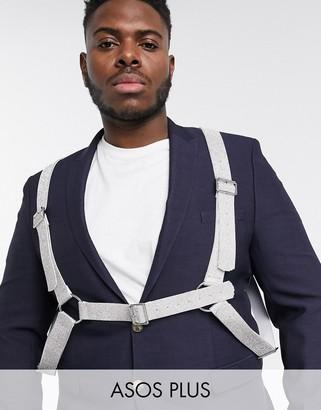 Asos DESIGN Plus faux leather harness with silver diamonte design