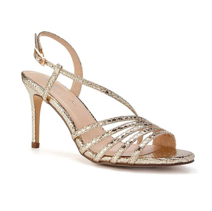 a2fb8530aa1 Paradox London Hailey Gold High Heel Snake Print Caged Sandals