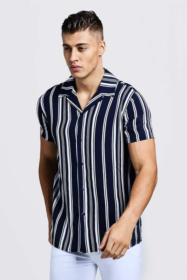 fc097733e02056 Vertical Striped Shirt Men Short Sleeve - ShopStyle Australia