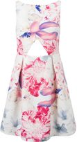 Wolfwhistle Wolf & Whistle Floral Cut Out Box Pleat Dress