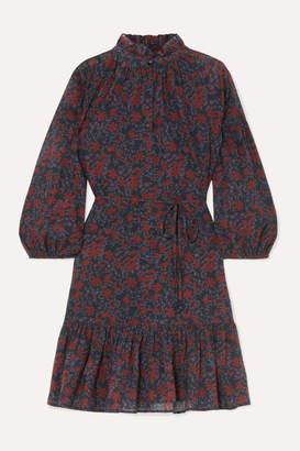 Apiece Apart Victoria Floral-print Cotton-gauze Mini Dress - Burgundy