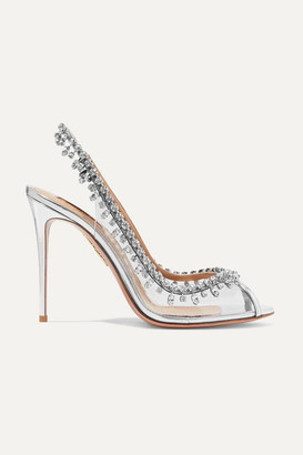 Aquazzura Temptation 105 Embellished Metallic Leather And Pvc Slingback Pumps - Silver