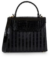 Thumbnail for your product : Nancy Gonzalez Tina Craig x Medium Lily Striped Crocodile & Raffia Top Handle Bag