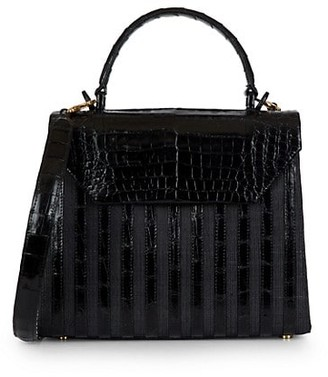 Nancy Gonzalez Tina Craig x Medium Lily Striped Crocodile & Raffia Top Handle Bag