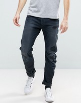 G Star G-Star Arc 3D Slim Jean Dark Restored Abrasions Black Wash