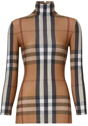 Burberry Archive Check Turtleneck Top