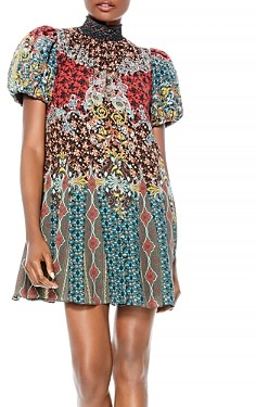 Alice + Olivia Janis Mixed Print Puff Sleeve Dress