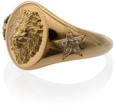Foundrae yellow gold diamond embellished strength signet ring