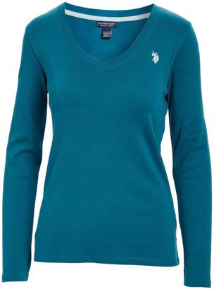 U.S. Polo Assn. Women's Tee Shirts BLFR - Blue Firth Ribbed Long-Sleeve V-Neck Tee - Women