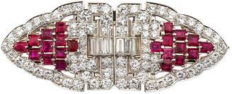 Nm Estate Estate Art Deco Diamond & Ruby Duette Clip Brooch