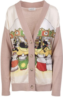 Lanvin Woman Pink V-neck Cardigan With Printed Silk Panel