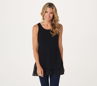 Logo by Lori Goldstein LOGO Layers by Lori Goldstein Knit Tank with Rollercoaster Chiffon Hem