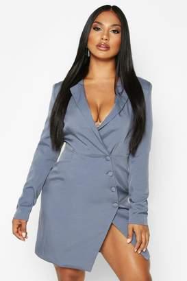 boohoo Woven Self - Fabric Button Blazer Dress