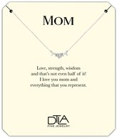 DTLA Fine Jewelry DTLA Mom Necklace in Sterling Silver with Loving Mother Message Card Gift - CZ Heart O