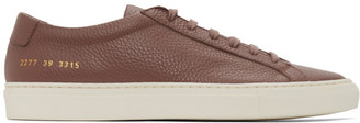 Common Projects Burgundy Pebbled Achilles Low Sneakers