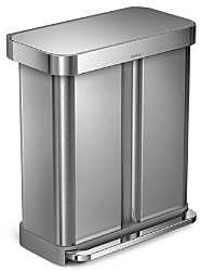 Simplehuman 58L Dual Compartment Rectangular Step Can with Liner Rim