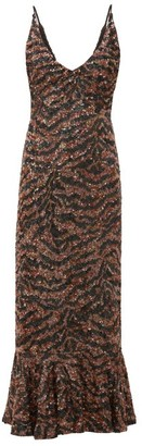 Saloni Aidan D Tiger Sequinned Fluted-hem Midi Dress - Bronze