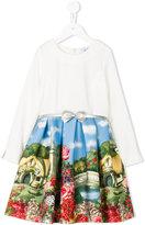 MonnaLisa landscape print dress - kids - Polyamide/Spandex/Elastane/Viscose - 2 yrs