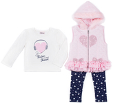Little Lass Light Coral Heart Hooded Puffer Vest Set - Infant, Toddler & Girls