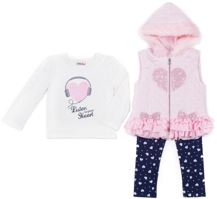 Little Lass Light Coral Heart Hooded Puffer Vest Set - Infant, Toddler & Girls