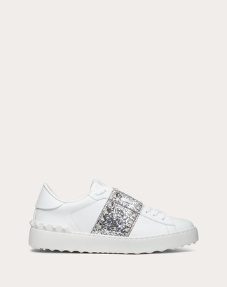 Valentino Rockstud Untitled Sneaker In Calfskin Leather With Glitter Stripe Women White/silver Polyurethane 50%, Polyester 42%, Cotton 8% 34