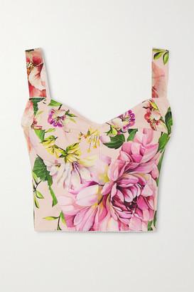Dolce & Gabbana Floral-print Silk-blend Bustier Top - Pink