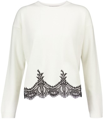 Valentino lace-trimmed wool and cashmere sweater