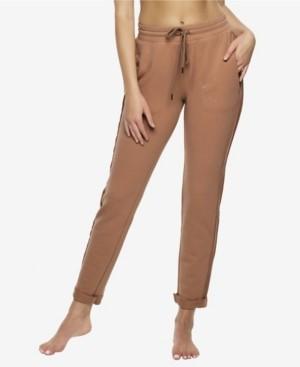 Felina Textured Terry Lounge Sweatpants with Metallic Foil Print