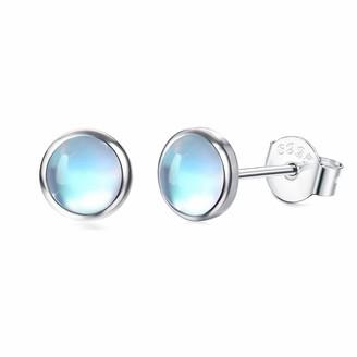 Milacolato 925 Sterling Silver Moonstone Stud Earrings 14K White Gold Nature Round Shape Moonstone Stud Earrings Small Stud Earrings for Women 5MM