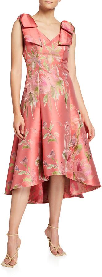 Marchesa Notte Floral Jacquard Draped Bow-Shoulder Midi Dress