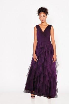 Little Mistress Bridesmaid Leonora Plum Ruffle Mesh Maxi Dress