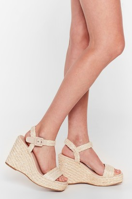 Nasty Gal Womens Makin' Strides Woven Wedge Sandals - Natural